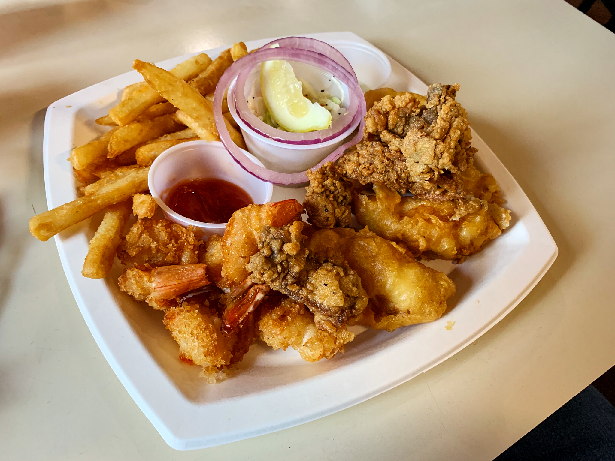 The seafood platter (dinner portion) from Snoopy's was awesome.