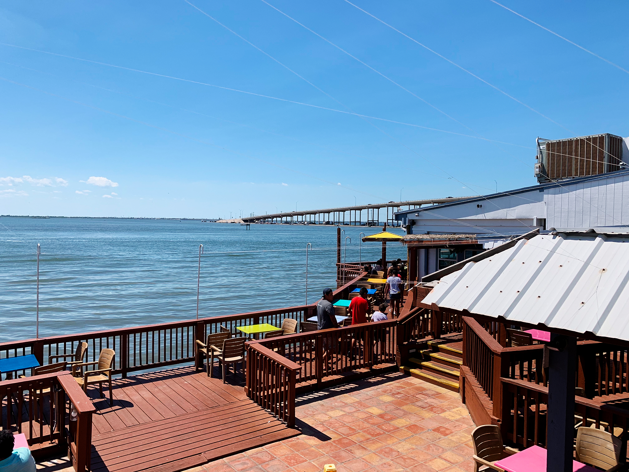 Snoopy's is located on a pier / dock area with a bunch of other restaurants.