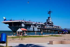 The USS Lexington on North Beach.