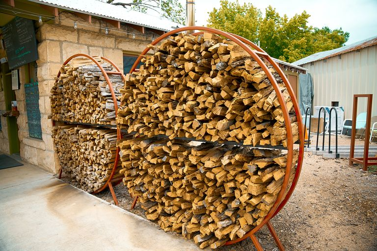A couple giant cords of mesquite wood in Comfort, Texas.