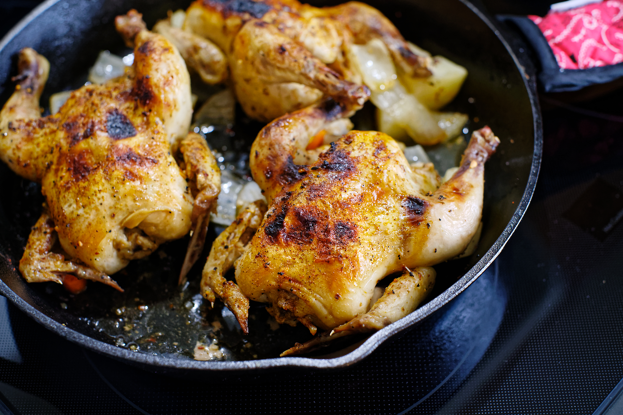 Slow roasted cornish game hens